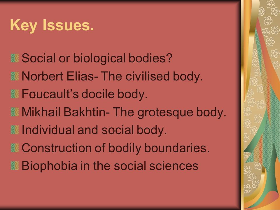 Key Issues. Social or biological bodies