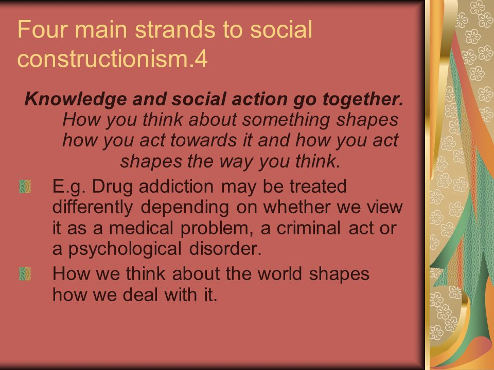 Four main strands to social constructionism.4
