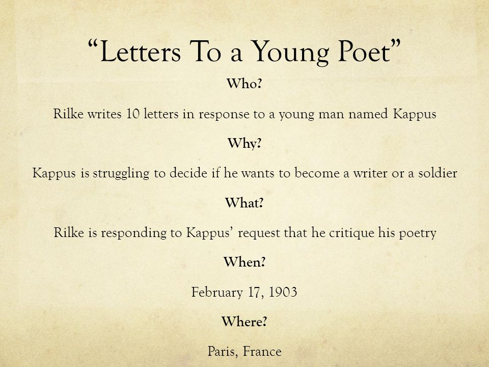 "3 ""Letters To a Young Poet"""