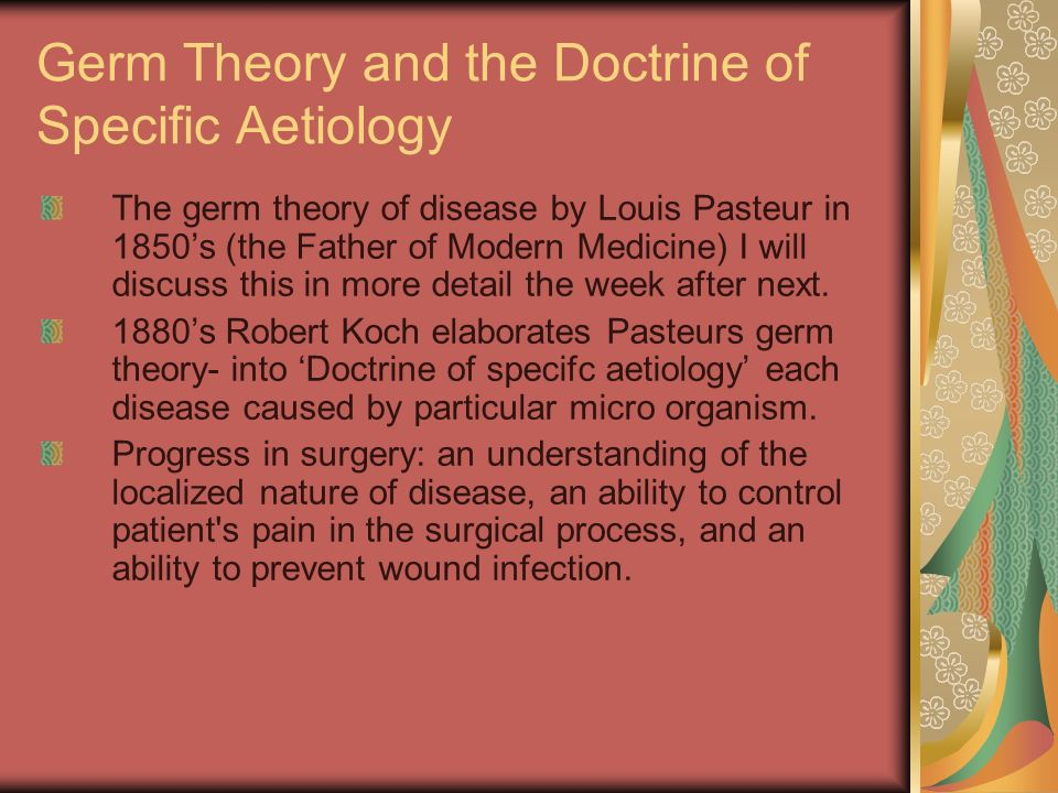 Germ Theory and the Doctrine of Specific Aetiology
