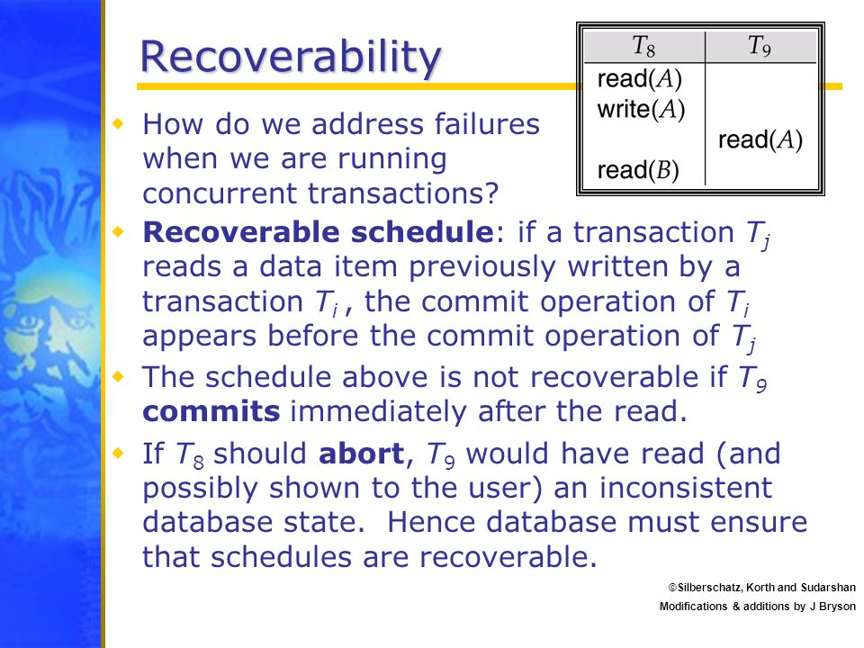 Recoverability How do we address failures when we are running concurrent transactions
