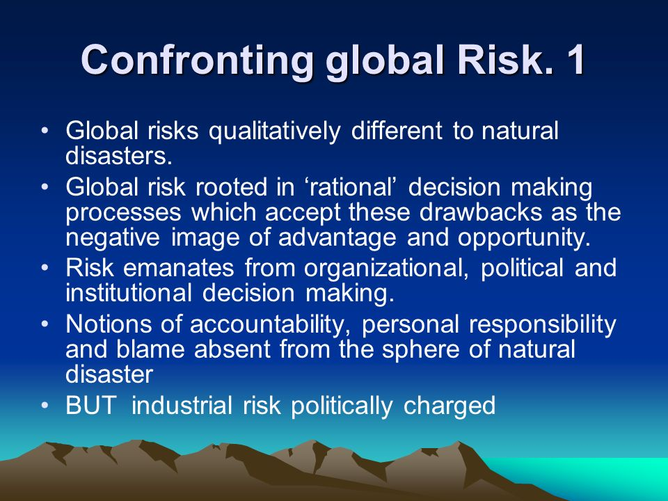 Confronting global Risk. 1