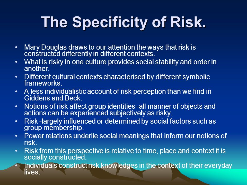 The Specificity of Risk.