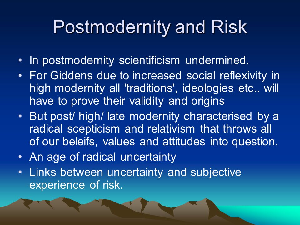 Postmodernity and Risk