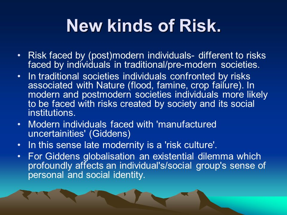 New kinds of Risk. Risk faced by (post)modern individuals- different to risks faced by individuals in traditional/pre-modern societies.