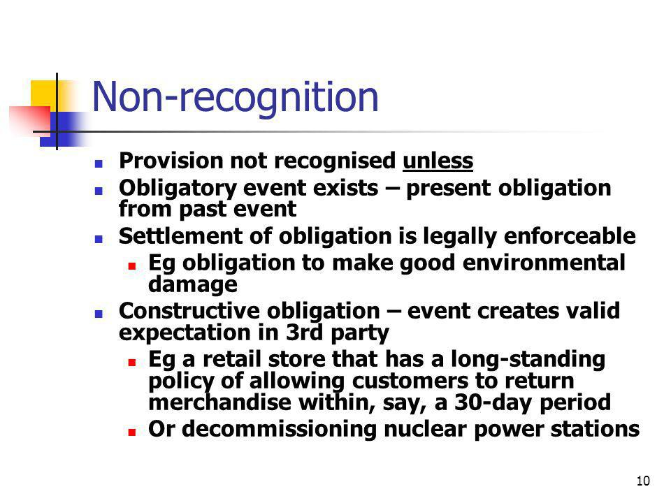 Non-recognition Provision not recognised unless