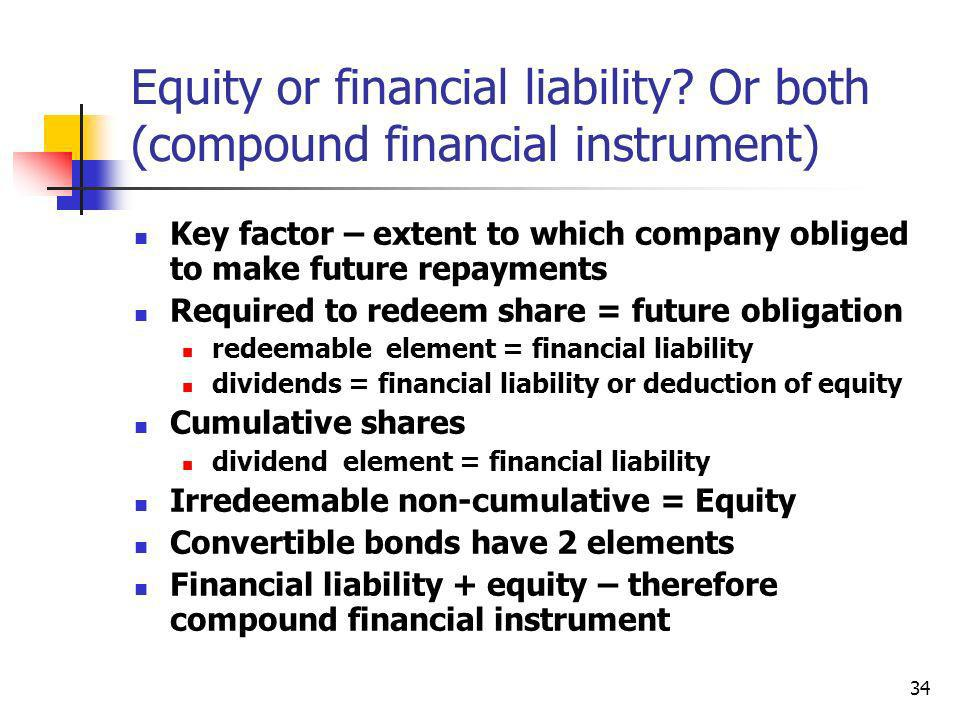 Equity or financial liability Or both (compound financial instrument)