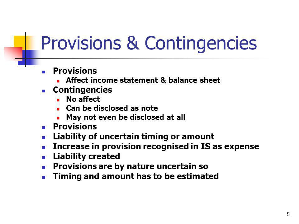 Provisions & Contingencies