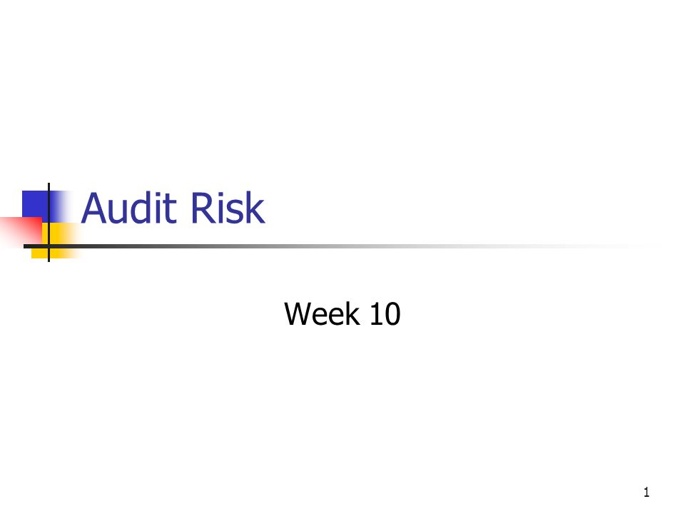 Audit Risk Week 10
