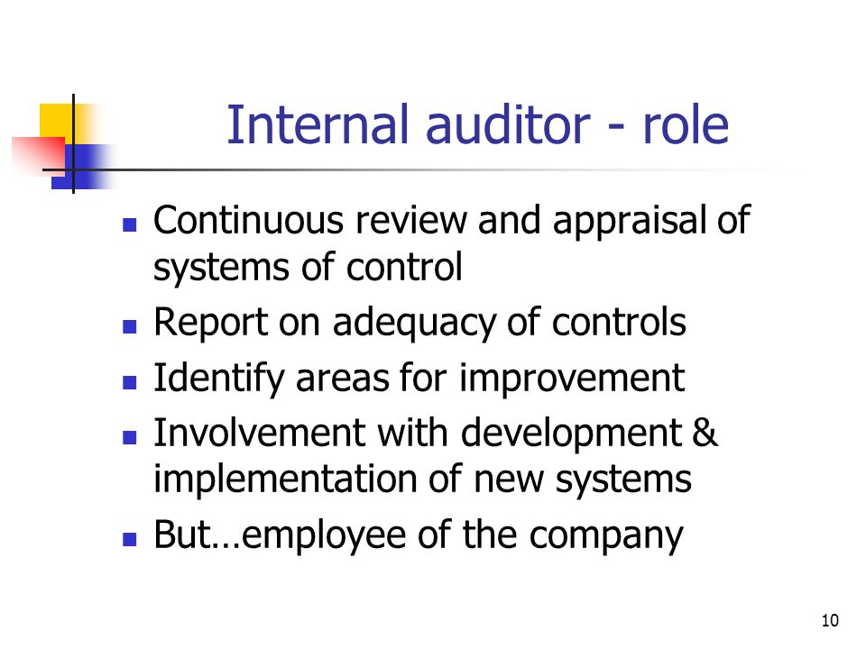 Internal auditor - role