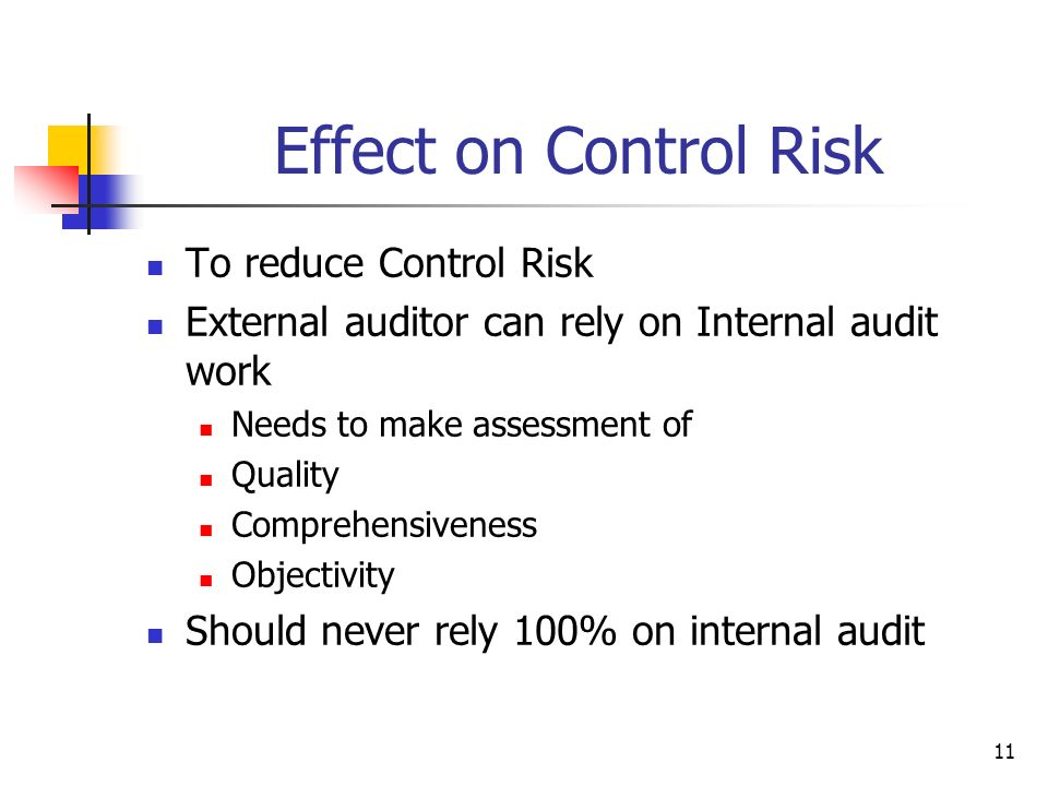 Effect on Control Risk To reduce Control Risk
