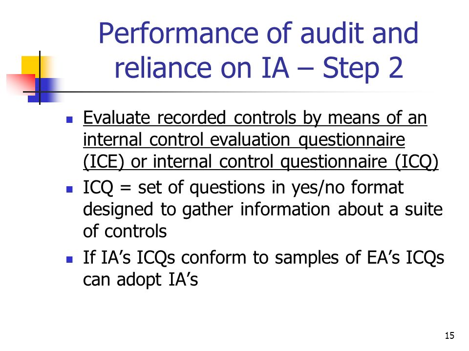 Performance of audit and reliance on IA – Step 2