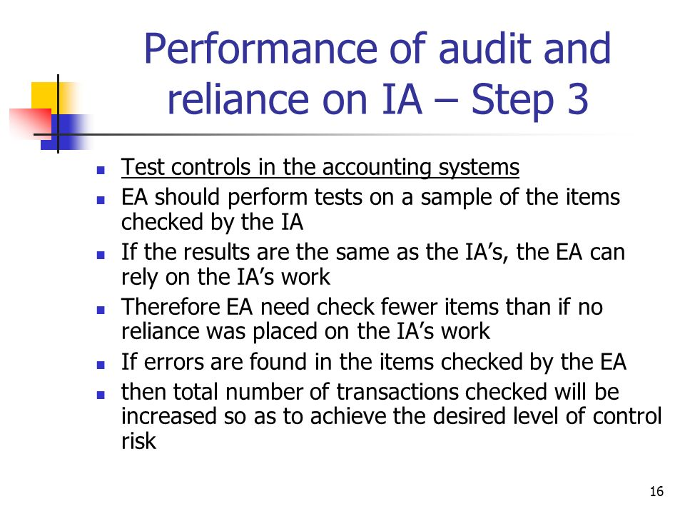Performance of audit and reliance on IA – Step 3