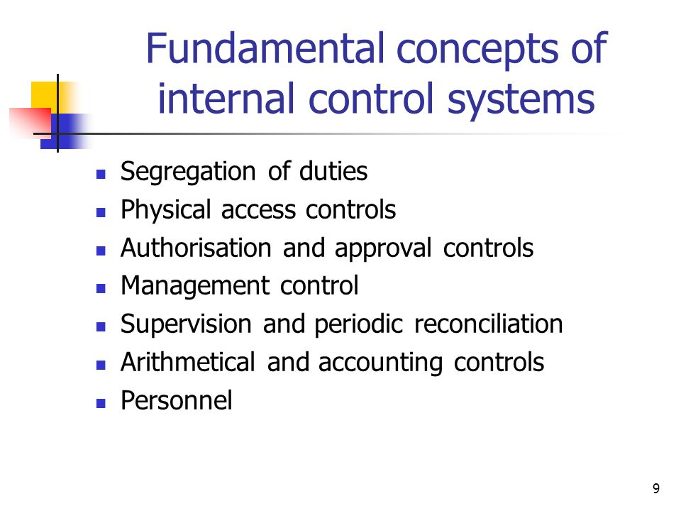 Fundamental concepts of internal control systems