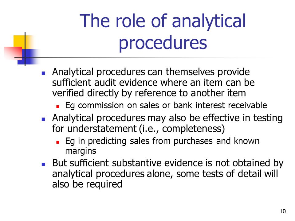 The role of analytical procedures