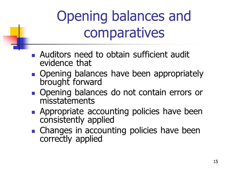 Opening balances and comparatives