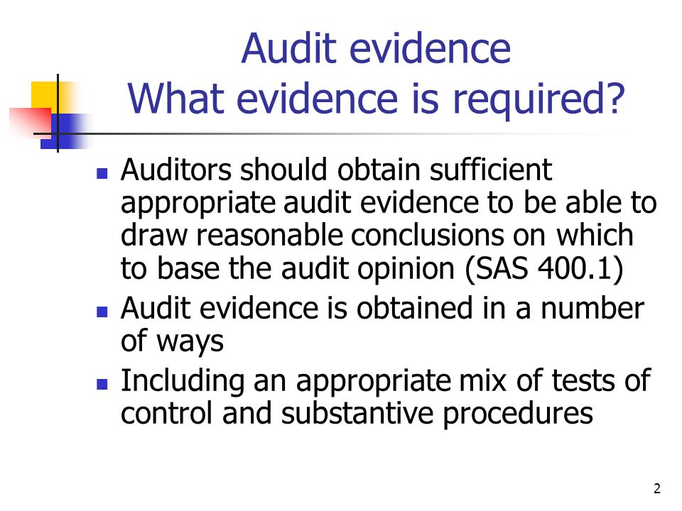 Audit evidence What evidence is required