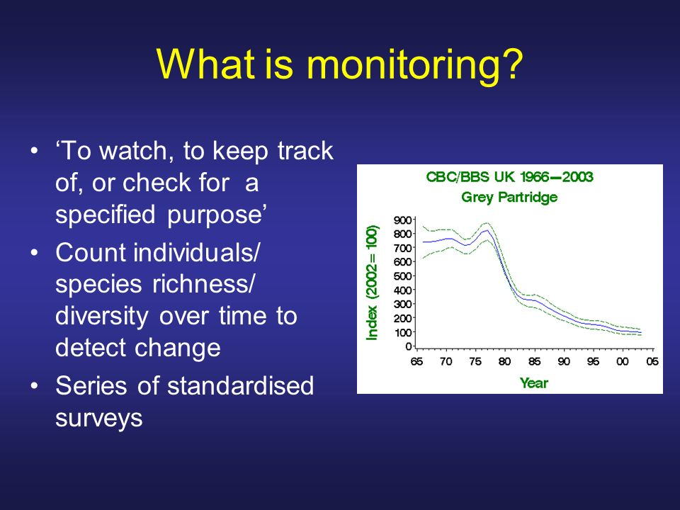 What is monitoring 'To watch, to keep track of, or check for a specified purpose'