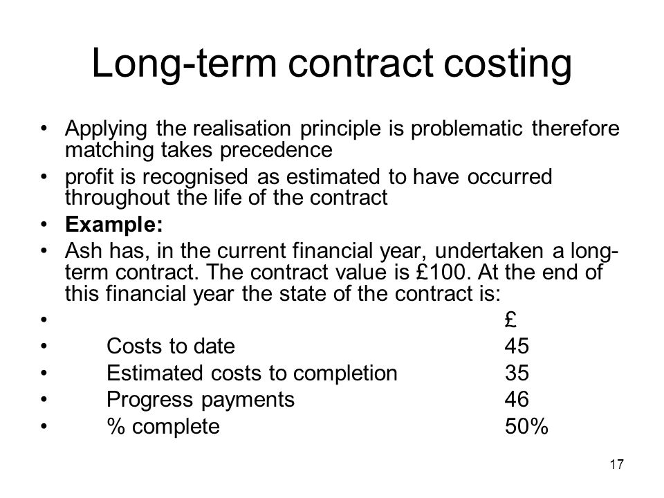 Long-term contract costing