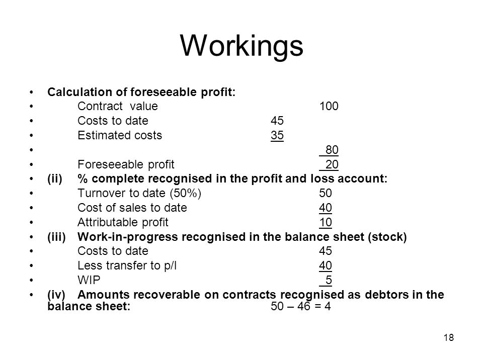 Workings Calculation of foreseeable profit: Contract value 100