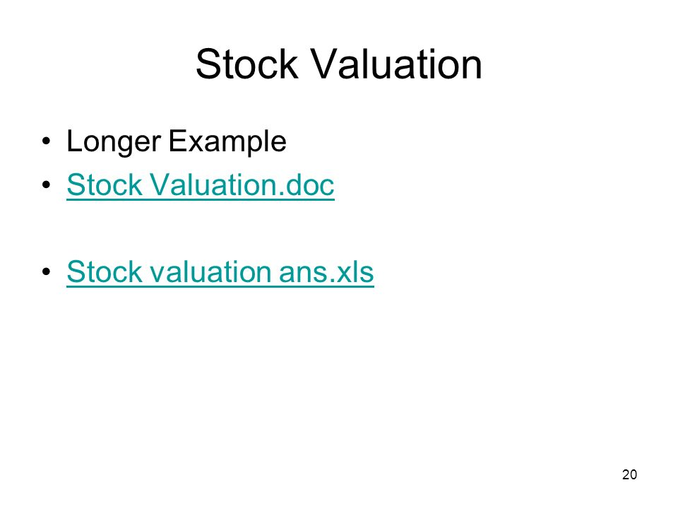 Stock Valuation Longer Example Stock Valuation.doc