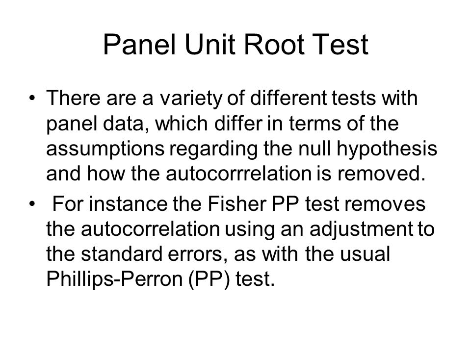 Dynamic panels and unit roots - ppt video online download