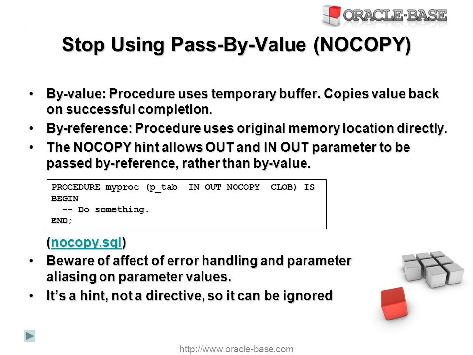 Stop Using Pass-By-Value (NOCOPY)