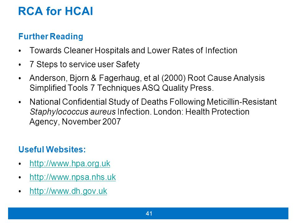 RCA for HCAI Further Reading