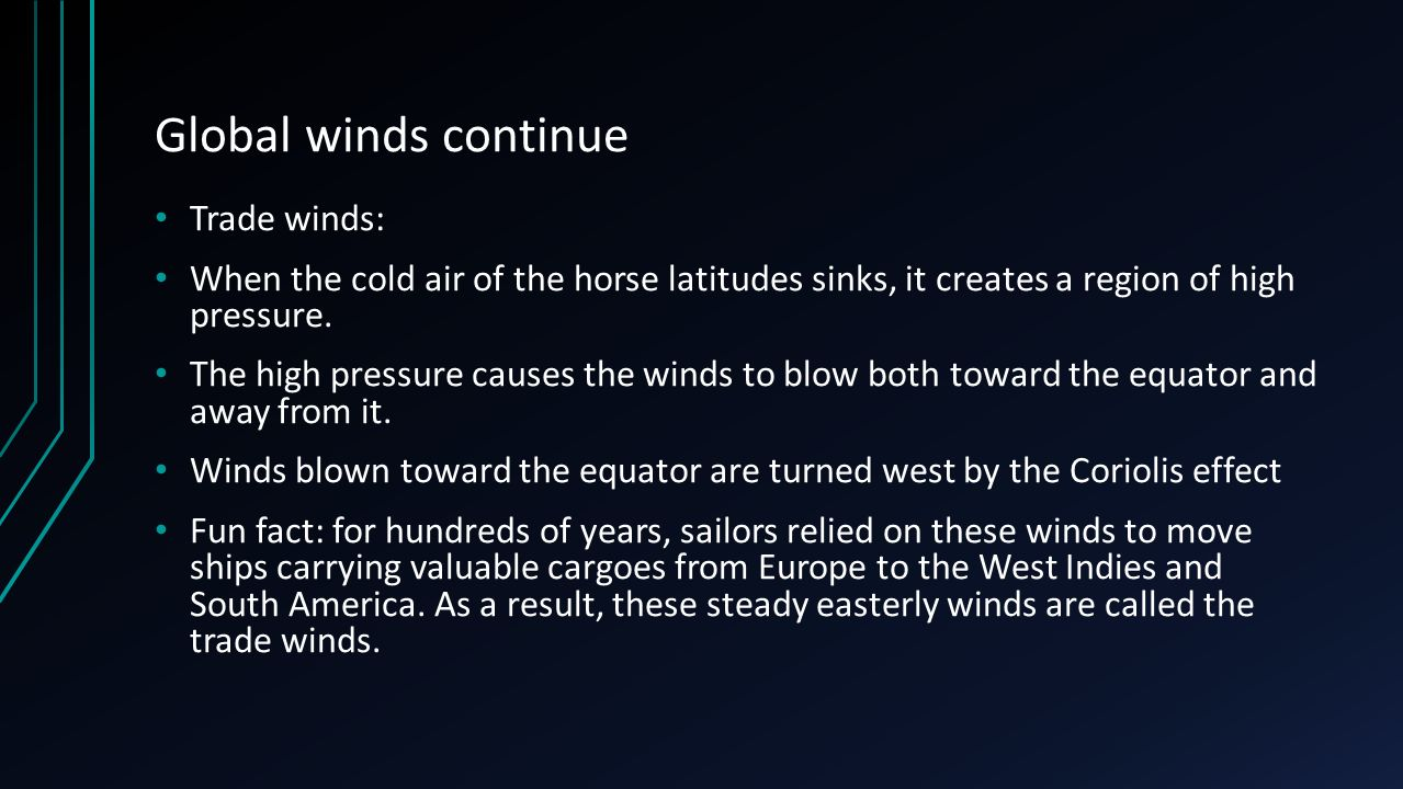 Global winds continue Trade winds: