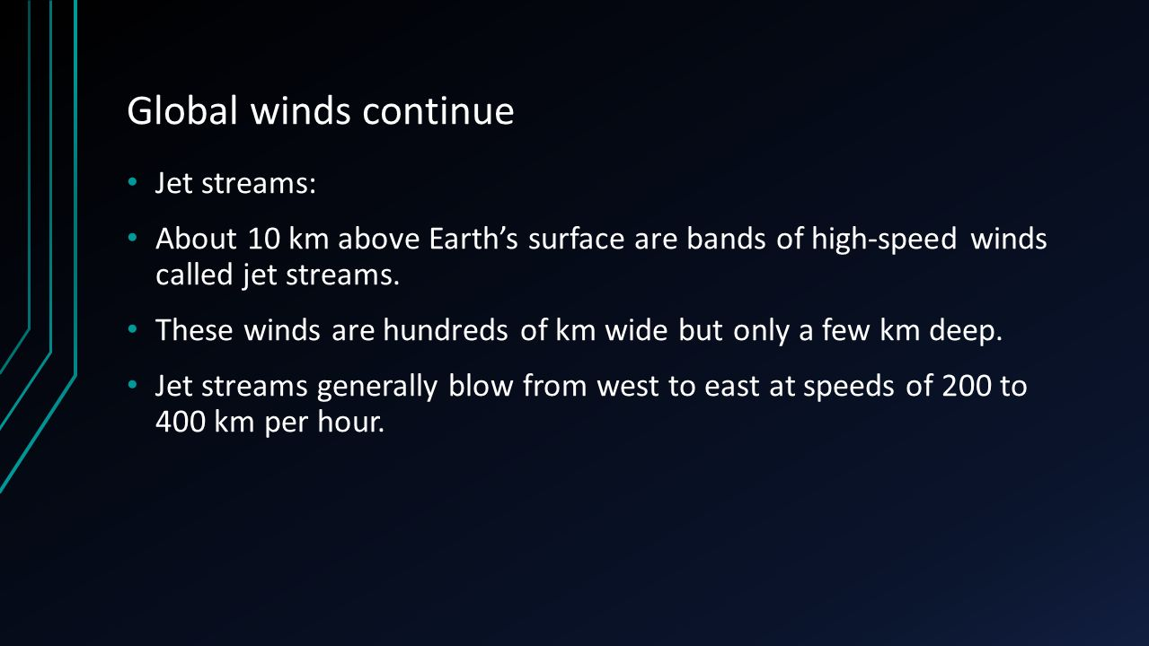 Global winds continue Jet streams: