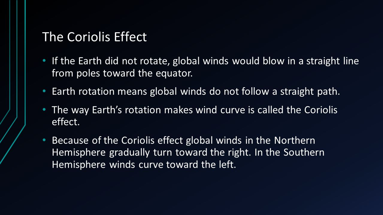 The Coriolis Effect If the Earth did not rotate, global winds would blow in a straight line from poles toward the equator.