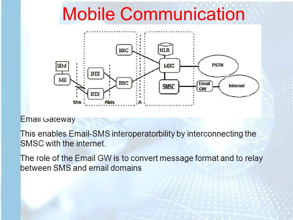 Mobile Communication The SMS implies of several additional elements in the  network architecture There is also another Element called