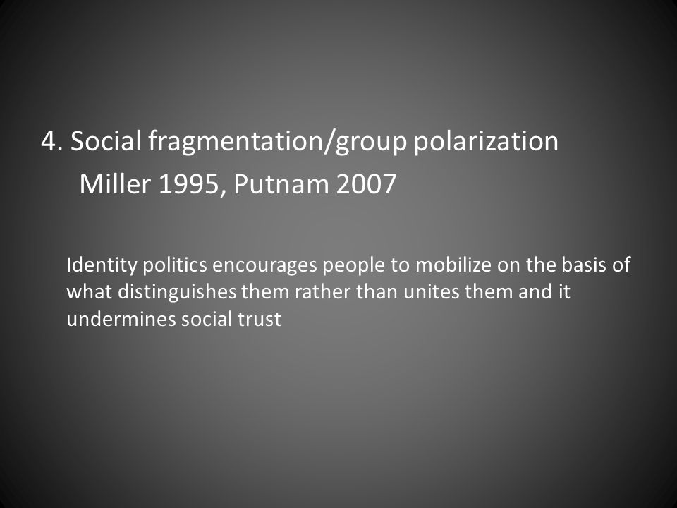 4. Social fragmentation/group polarization Miller 1995, Putnam 2007
