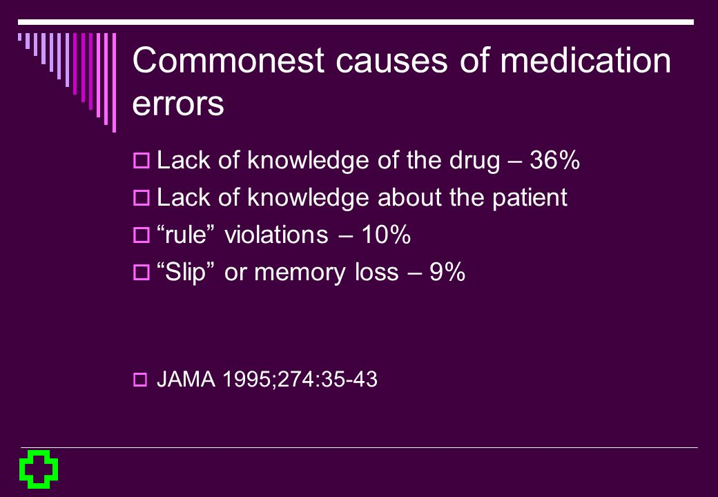 Commonest causes of medication errors