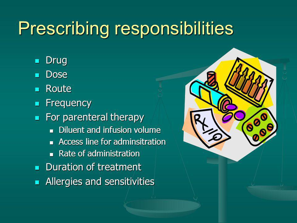Prescribing responsibilities
