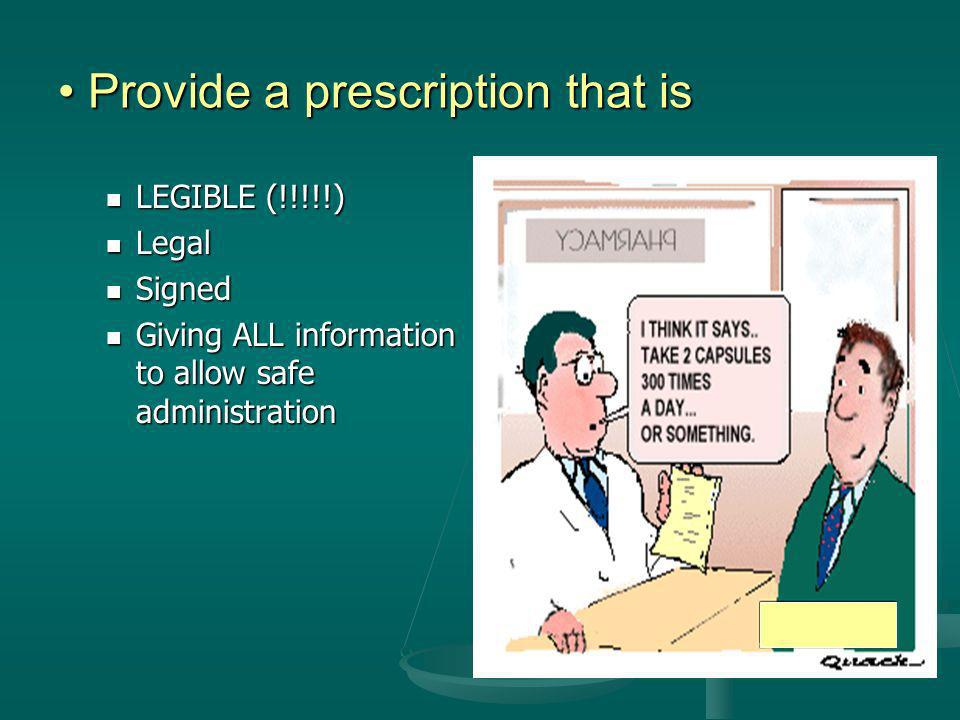 Provide a prescription that is