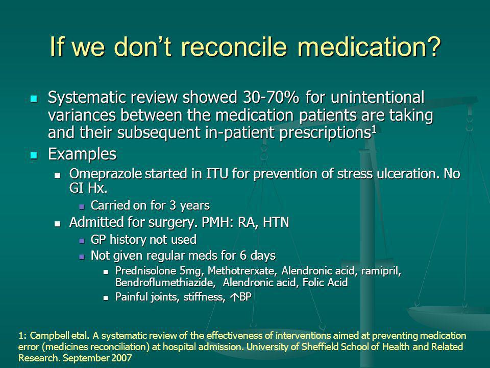 If we don't reconcile medication