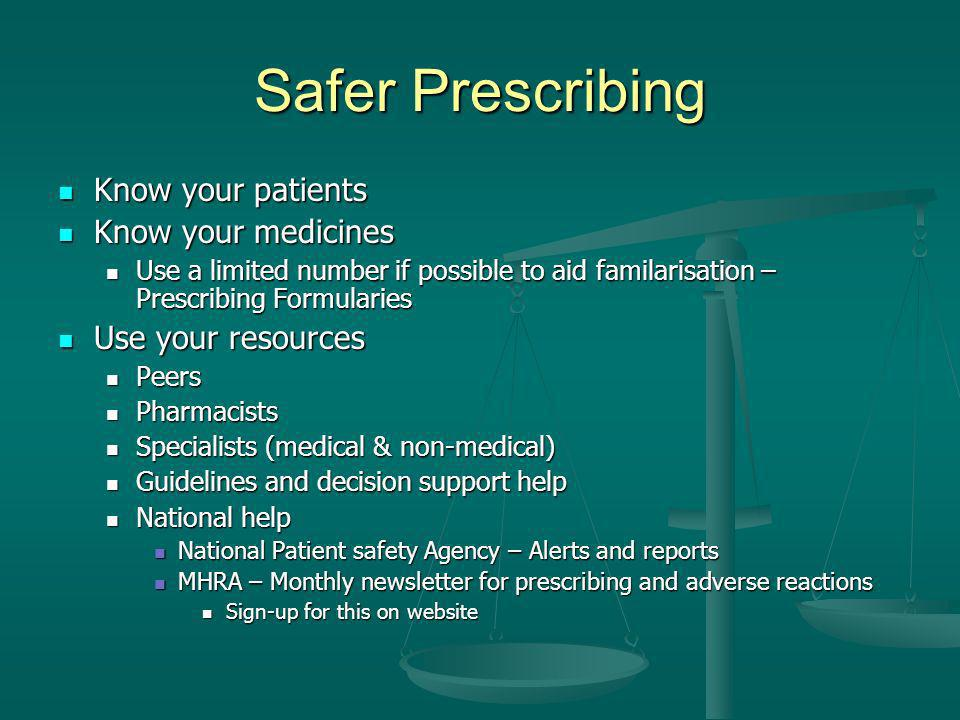 Safer Prescribing Know your patients Know your medicines
