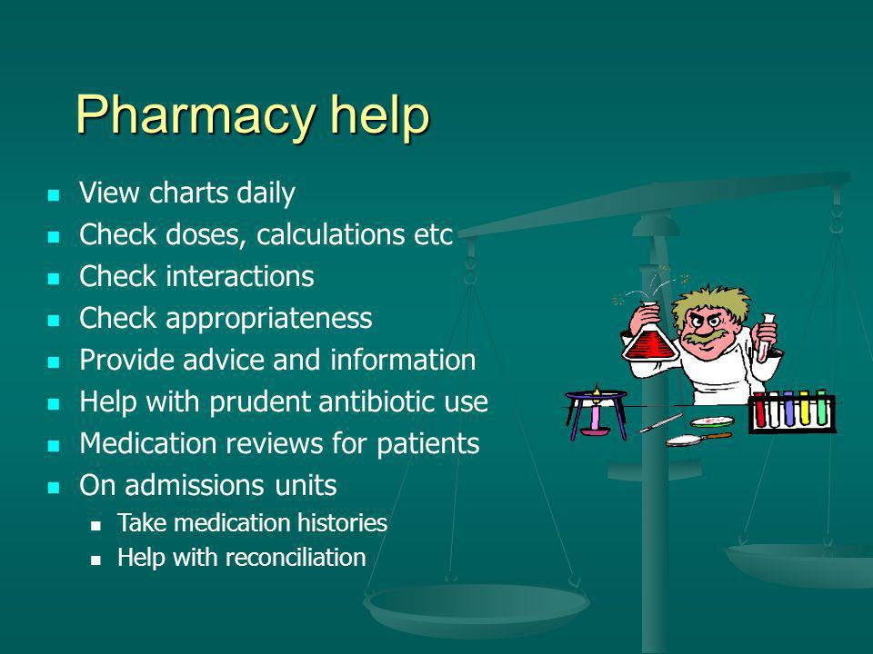 Pharmacy help View charts daily Check doses, calculations etc