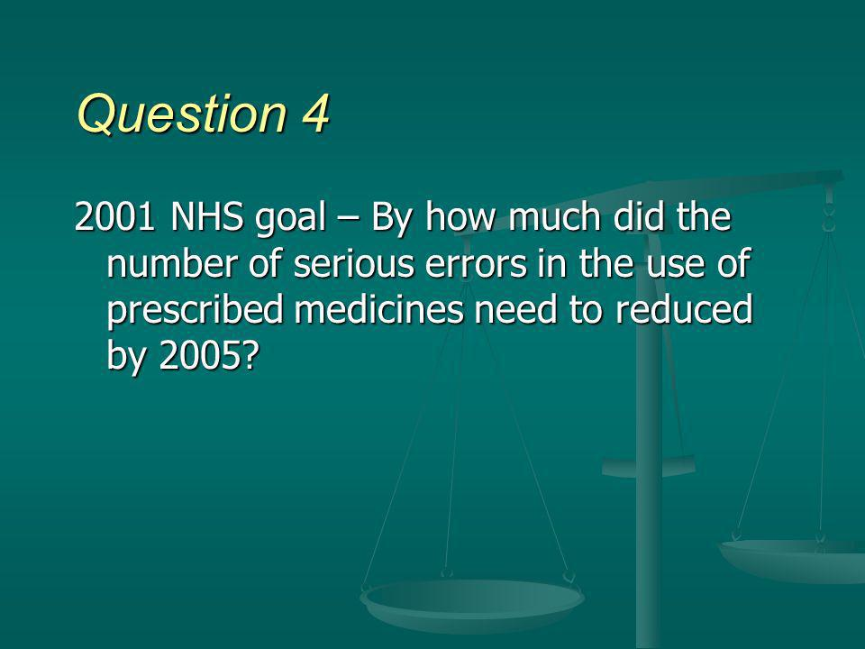 Question 4 2001 NHS goal – By how much did the number of serious errors in the use of prescribed medicines need to reduced by 2005