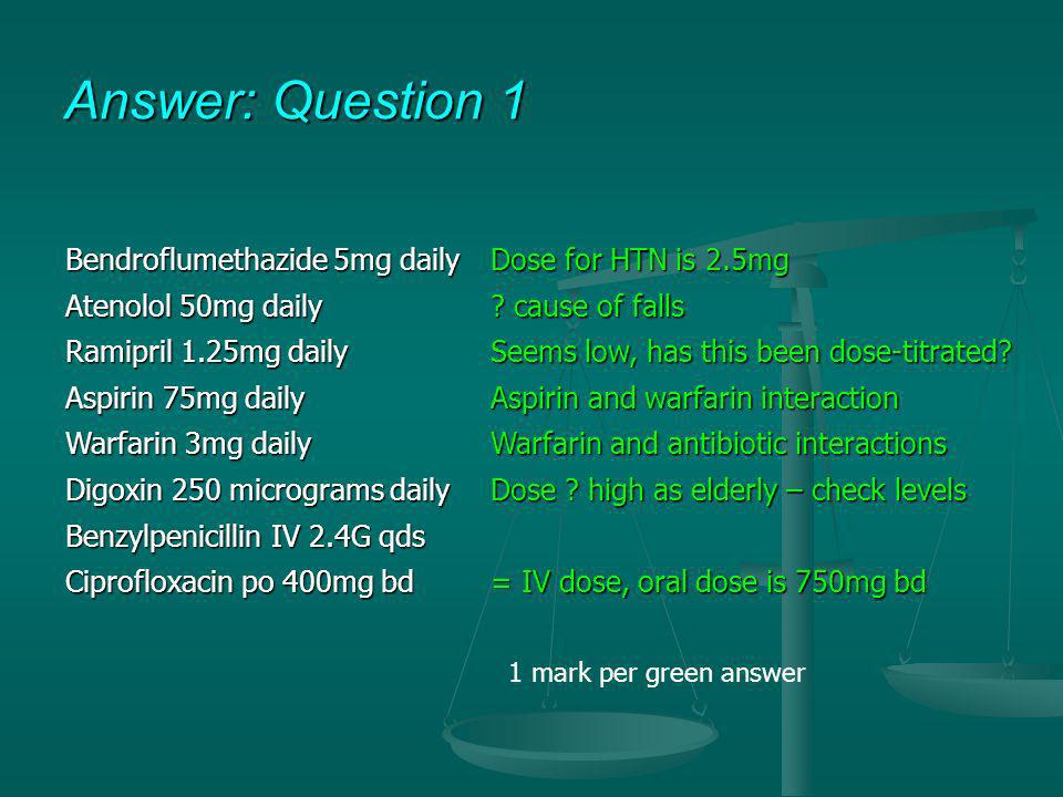 Answer: Question 1 Bendroflumethazide 5mg daily Dose for HTN is 2.5mg