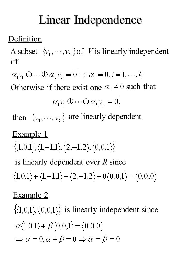Linear Independence Definition A subset of V is linearly independent