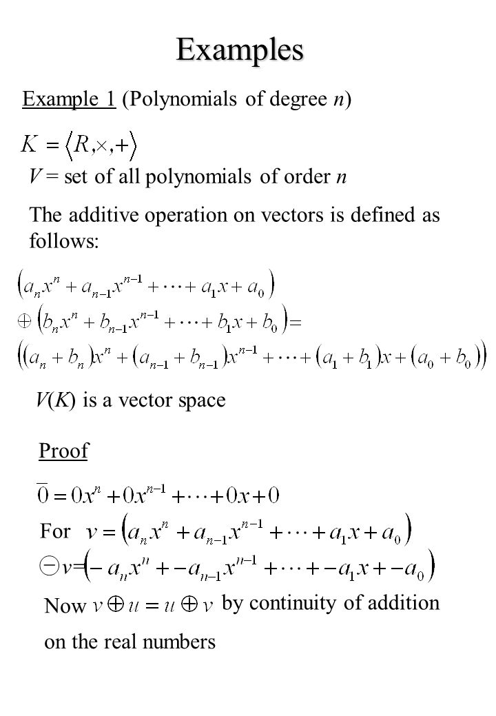 Examples Example 1 (Polynomials of degree n)