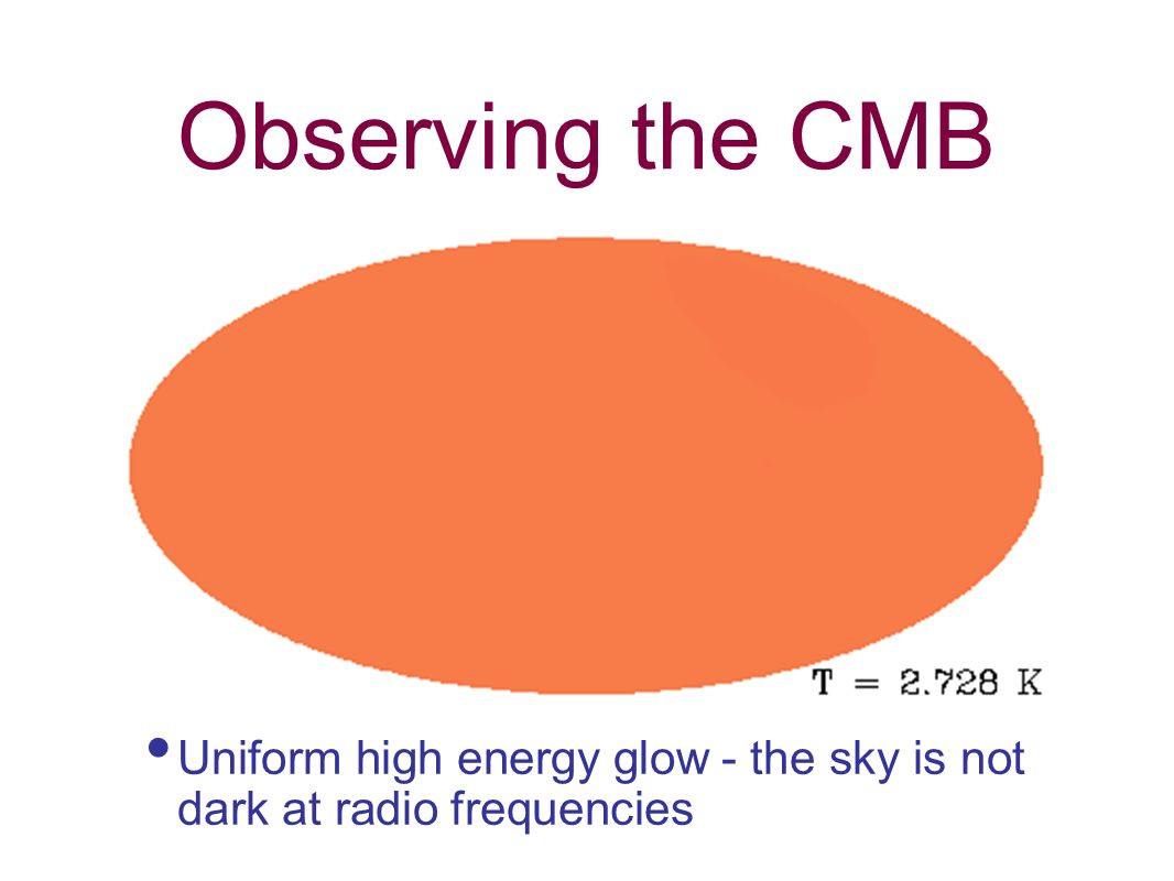 Observing the CMB Uniform high energy glow - the sky is not dark at radio frequencies