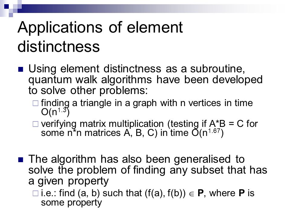 Applications of element distinctness