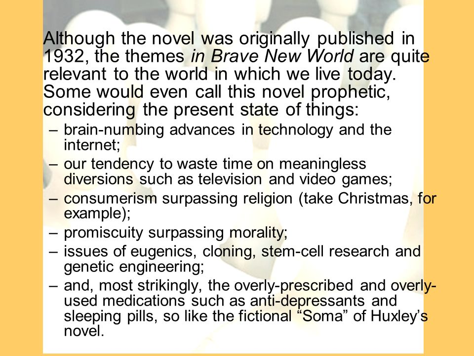 an analysis of the eugenics in brave new world novel by aldous huxley Brave new world is aldous huxley's 1932 dystopian novel borrowing from the tempest , huxley imagines a genetically-engineered future where life is see a complete list of the characters in brave new world and in-depth analyses of john, bernard marx, helmholtz watson, and mustapha mond.