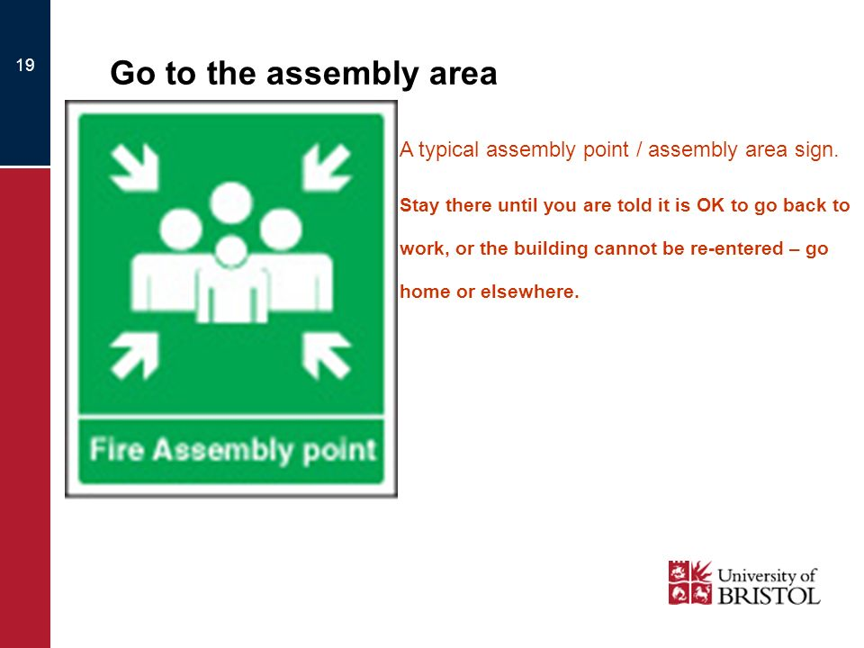 Go to the assembly area A typical assembly point / assembly area sign.