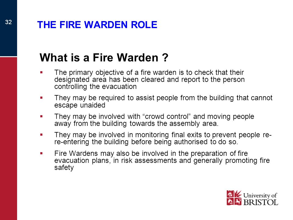 What is a Fire Warden THE FIRE WARDEN ROLE
