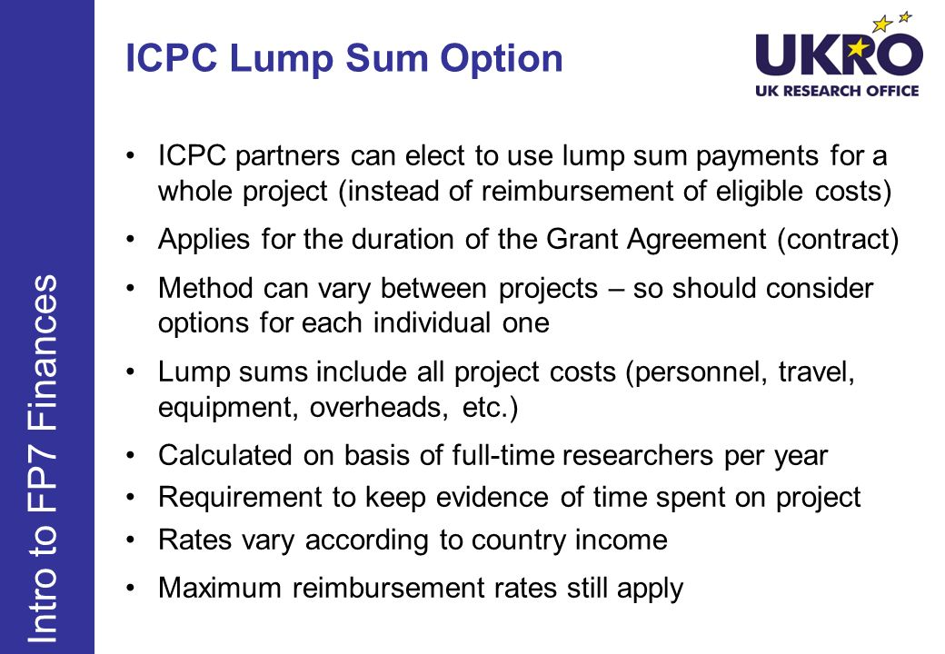 ICPC Lump Sum Option Intro to FP7 Finances