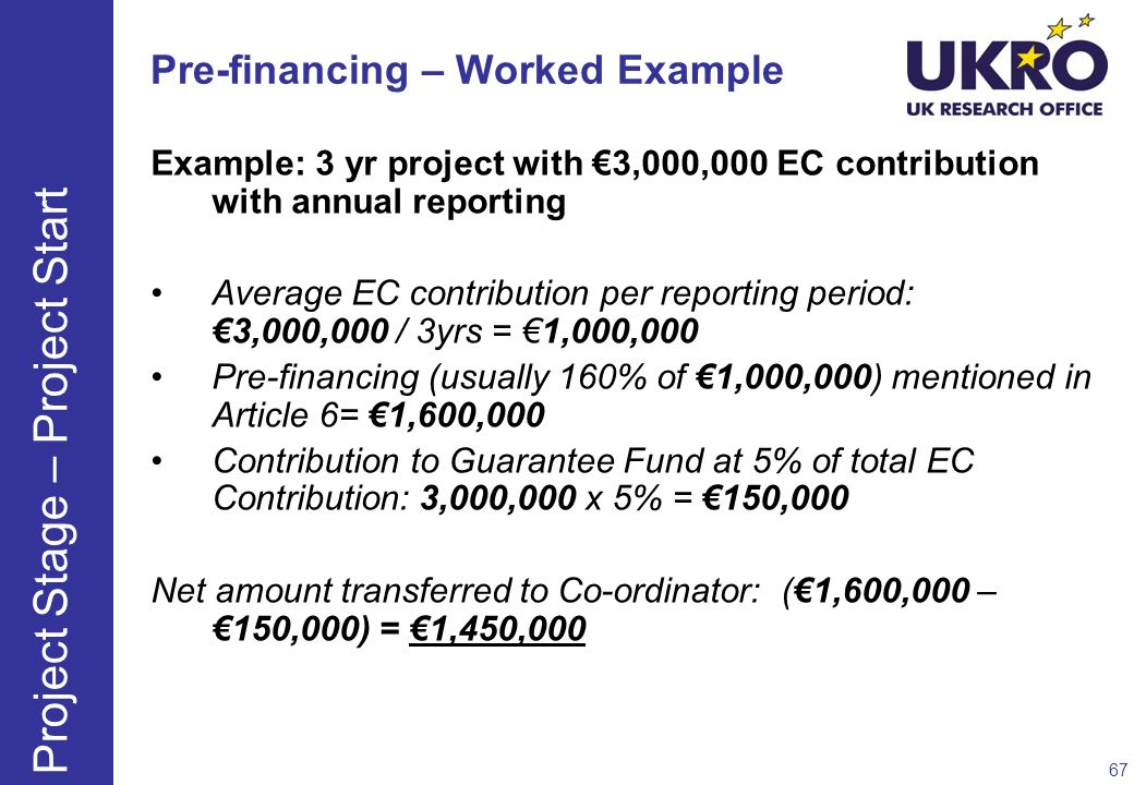 Pre-financing – Worked Example